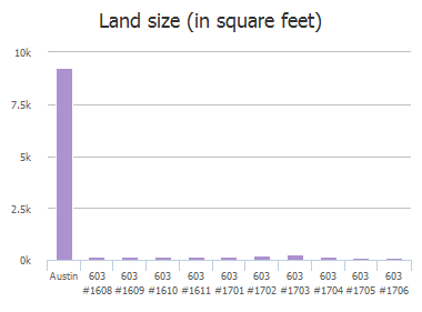 Land size (in square feet) of Davis Street, Austin, TX: 603 #1608, 603 #1609, 603 #1610, 603 #1611, 603 #1701, 603 #1702, 603 #1703, 603 #1704, 603 #1705, 603 #1706
