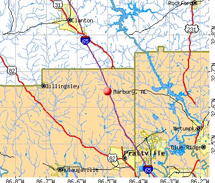 Marbury, AL map