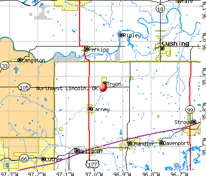Northwest Lincoln, OK map