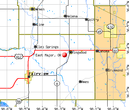 East Major, OK map
