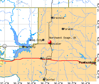 Northwest Osage, OK map