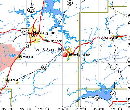 Twin Cities, OK map