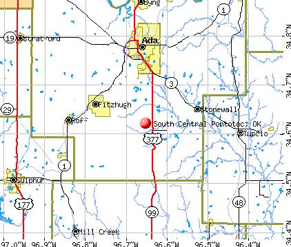 South Central Pontotoc, OK map
