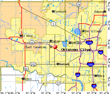 East Canadian, OK map