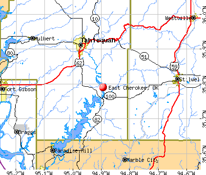 East Cherokee, OK map