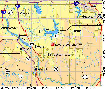 East Cleveland, OK map