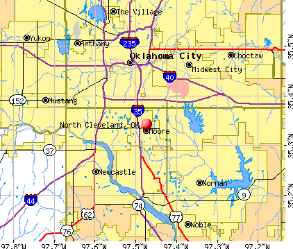 North Cleveland, OK map