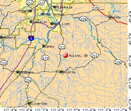 Mulino, OR map