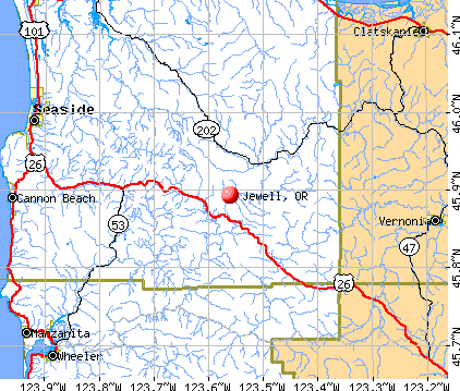 Jewell, OR map
