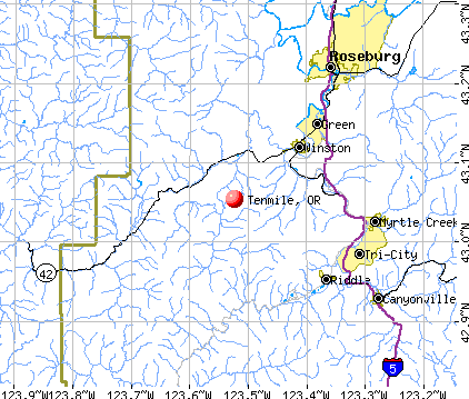 Tenmile, OR map