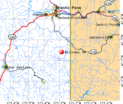 Williams, OR map