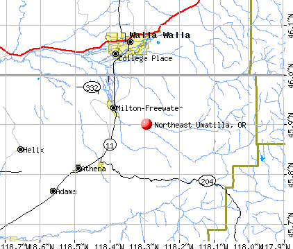 Northeast Umatilla, OR map