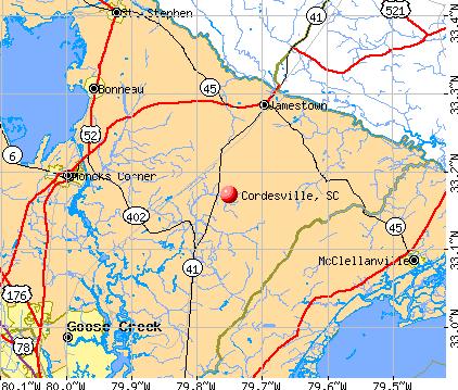 Cordesville, SC map