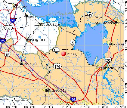 Cross, SC map