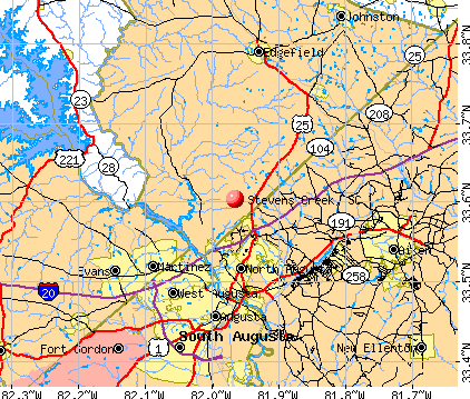 Stevens Creek, SC map