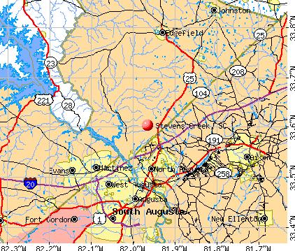 Stevens Creek, SC map
