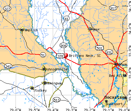Brittons Neck, SC map