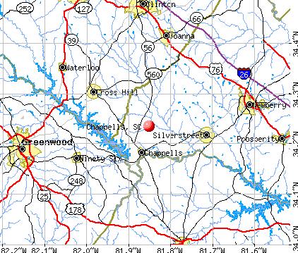 Chappells, SC map
