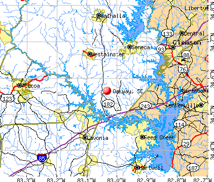 Oakway, SC map