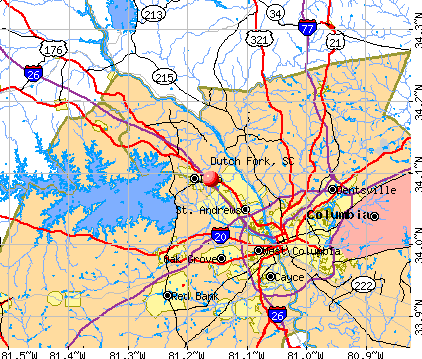 Dutch Fork, SC map