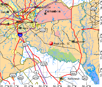 map of south carolina. Hopkins, SC map