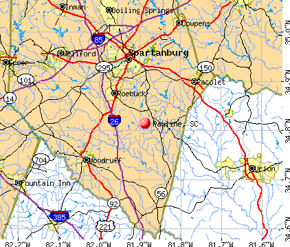 Pauline, SC map