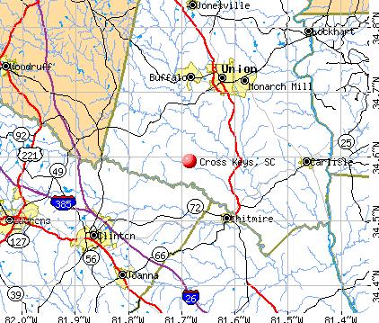 Cross Keys, SC map