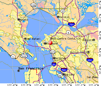 West Contra Costa, CA map