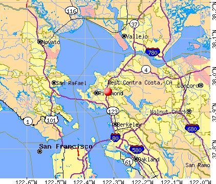 West Contra Costa, CA map