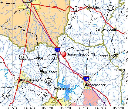 Beech Grove, TN map