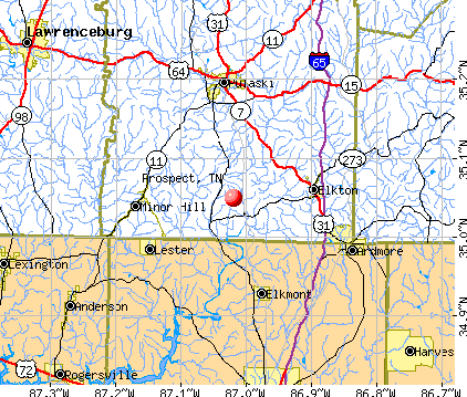 Prospect, TN map