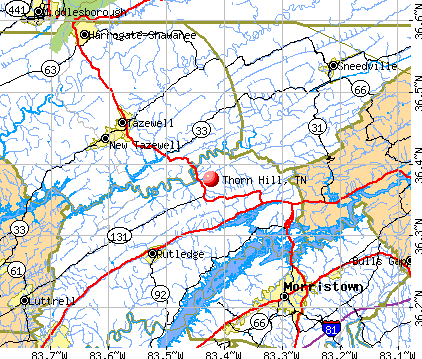 Thorn Hill, TN map