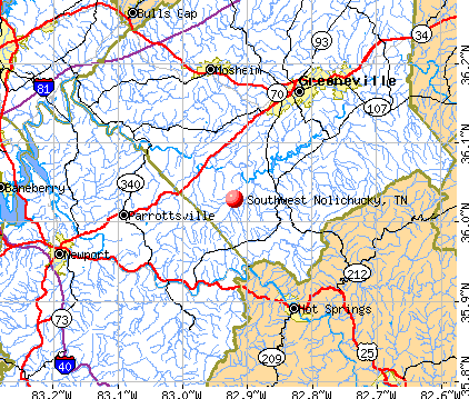 Southwest Nolichucky, TN map