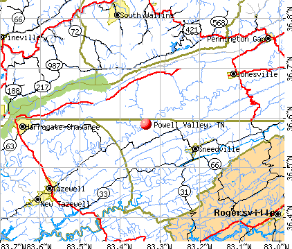 Powell Valley, TN map