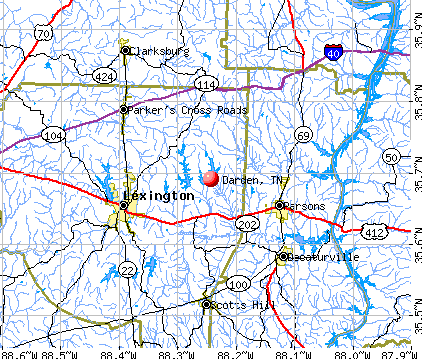 Darden, TN map