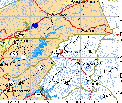 Shady Valley, TN map