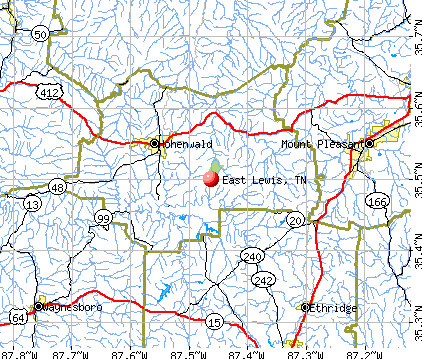East Lewis, TN map