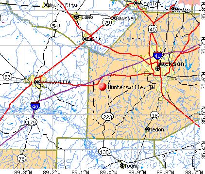 Huntersville, TN map