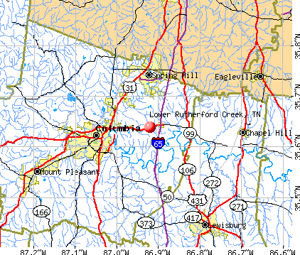 Lower Rutherford Creek, TN map