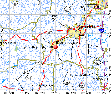 Upper Big Bigby, TN map