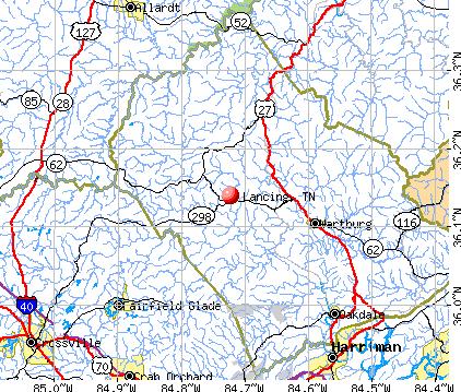 Lancing, TN map