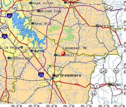 Lascassas, TN map
