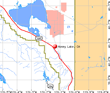 Honey Lake, CA map