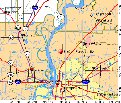 Shelby Forest, TN map