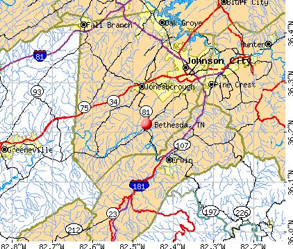 Bethesda, TN map