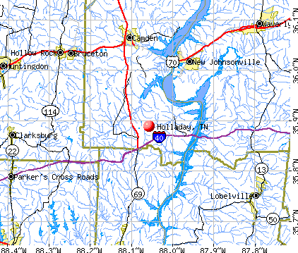 Holladay, TN map