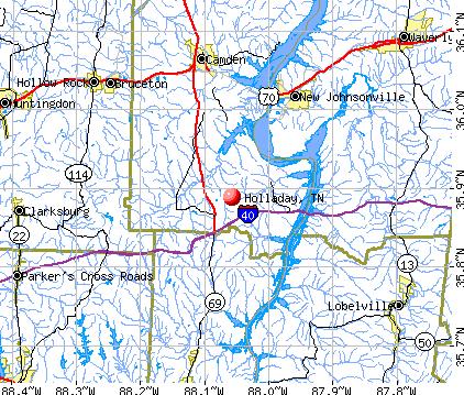 Holladay, TN map