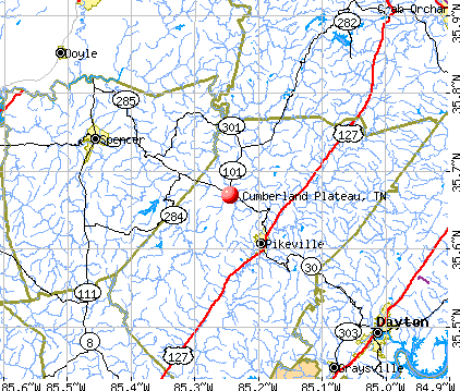 Cumberland Plateau, TN map
