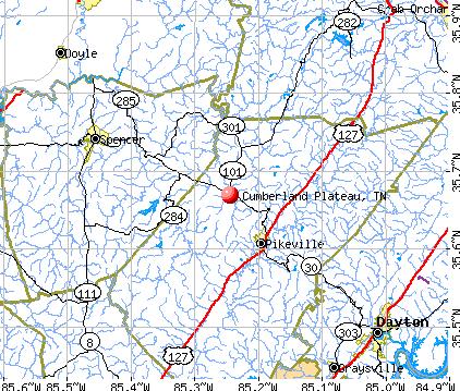 Cumberland Plateau, TN map