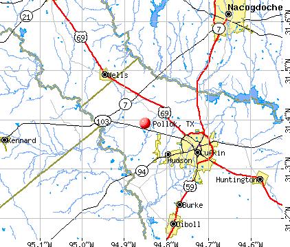 Pollok, TX map